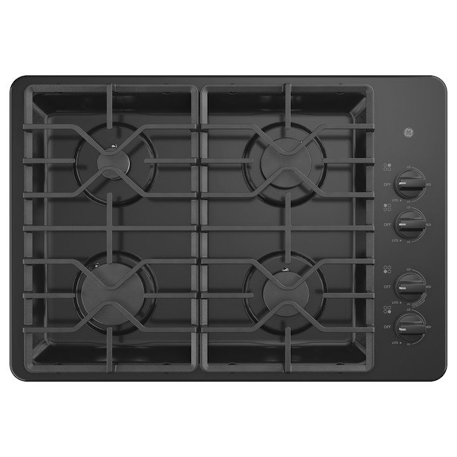 Plaque de cuisson encastrée GE Appliances à 4 brûleurs, 30 po, noir