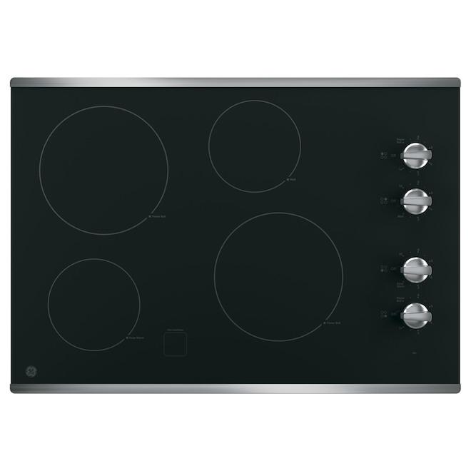 Table de cuisson de 30 po à 4 éléments en inox GE