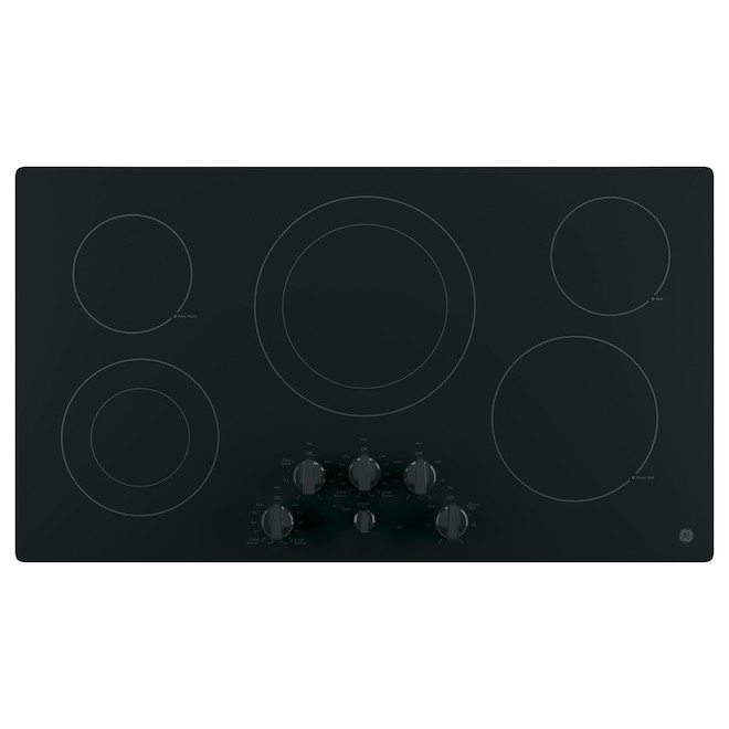 GE Smooth 6-Element 36-in Electric Stainless Steel Cooktop - Black