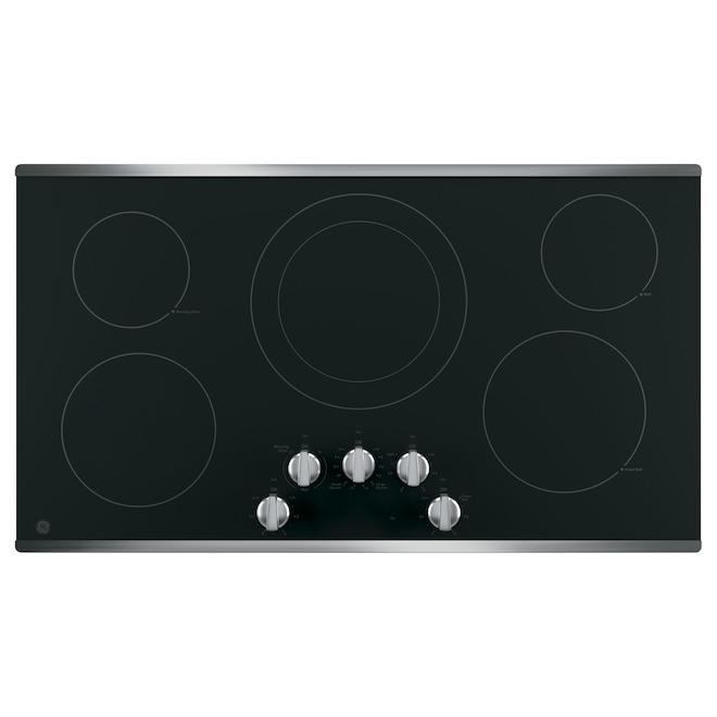 Plaque de cuisson électrique GE Appliances avec élément double, 36 po, noir/inox