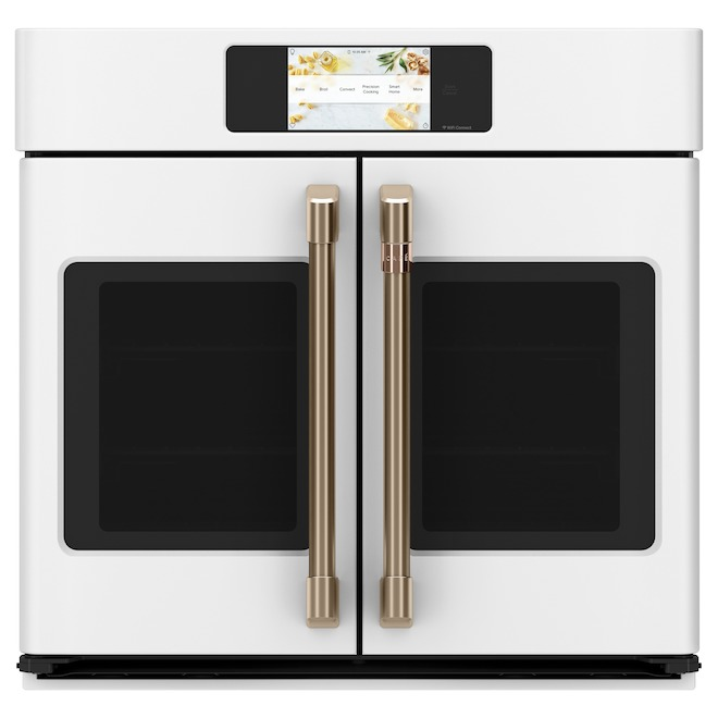 Cafe Wall Convection Oven with French Doors and Touch Screen - 30-in - Matte White