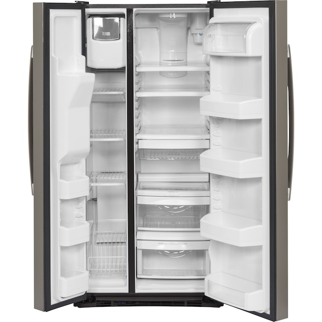 GE 23.2-cu ft Slate Side-by-Side Refrigerator with Ice Maker
