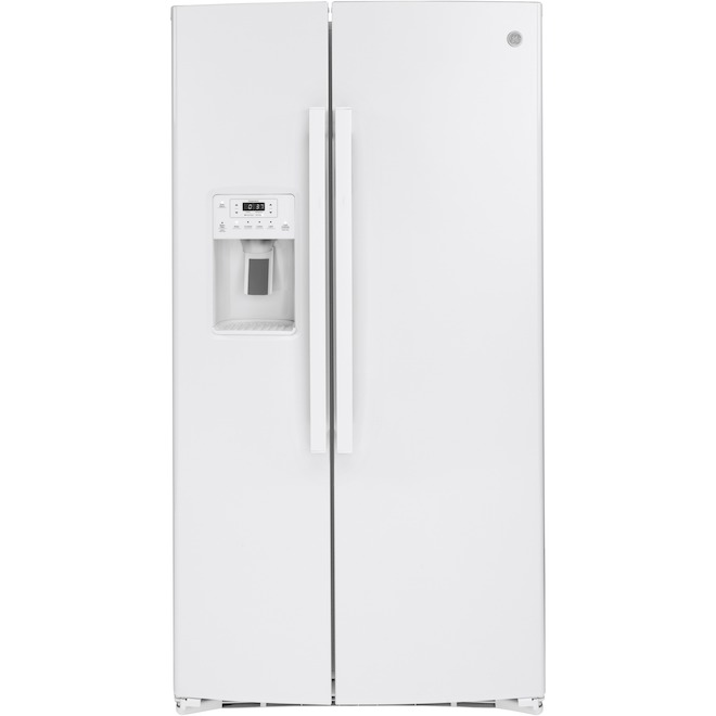 GE 25.1-cu ft White Side-by-Side Refrigerator with Ice Maker and Water Dispenser