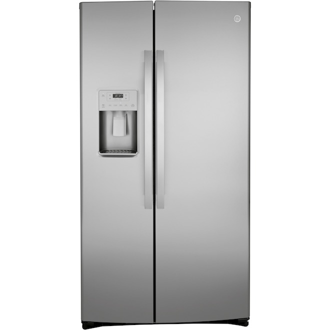 GE 25.1-cu ft Stainless Steel Side-by-Side Refrigerator with Ice Maker and Water Dispenser