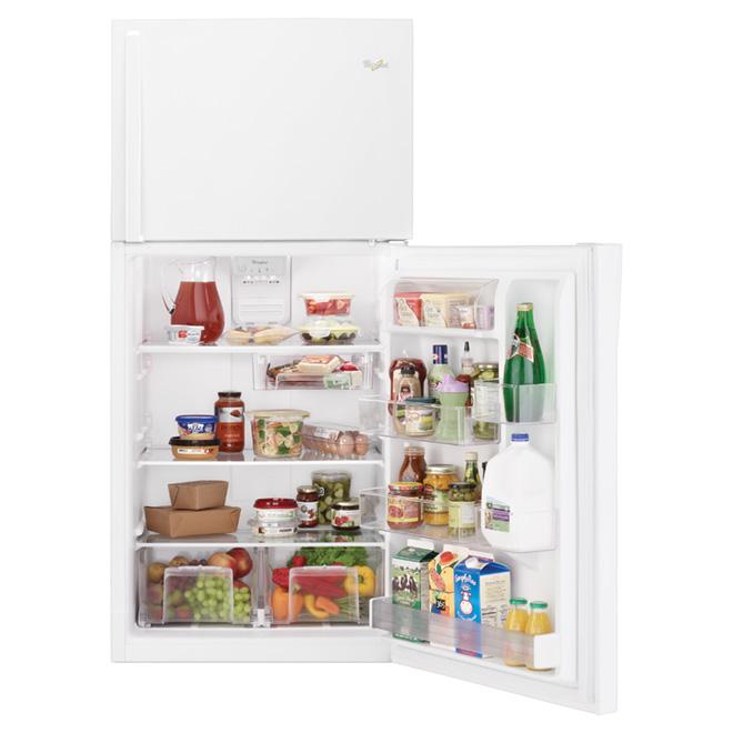 Réfrigérateur à congélateur supérieur, 19,2 pi³, blanc