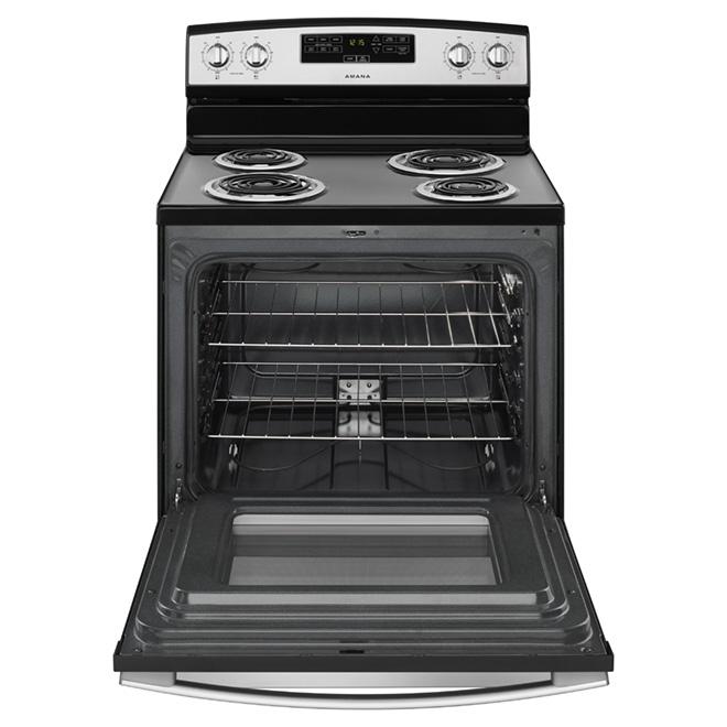 """Cuisinière électrique température Bake Assist 30"""", Noir/Inox"""