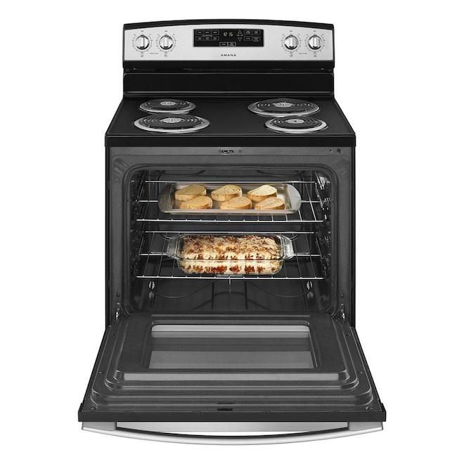 Cuisinière électrique autoportante de 30 po Amana, noir et acier inoxydable, températures Bake Assist