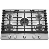KitchenAid Gas Cooktop with Even-Heat(TM) - 30-in - Stainless Steel