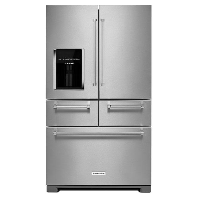 """Réfrigérateur à portes multiples, 36"""", 25,8 pi³, inox"""