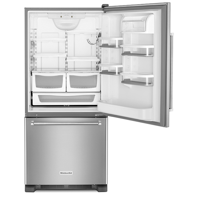 """Réfrigérateur à congélateur inférieur, 30"""", 18,7 pi³, inox"""
