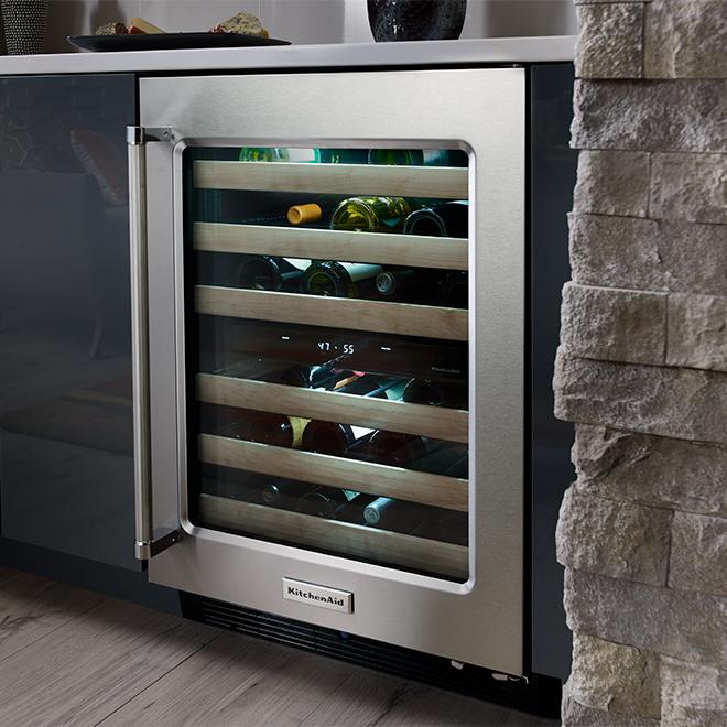 KitchenAid 46 Bottles Wine Cellar - 2-Zone - Stainless Steel