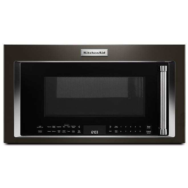Four à micro-ondes à hotte intégrée KitchenAid de 30 po, 1,9 pi³, inox noir