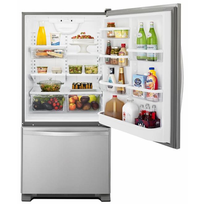 """Réfrigérateur à congélateur au bas, 33"""", 22 pi³, acier"""