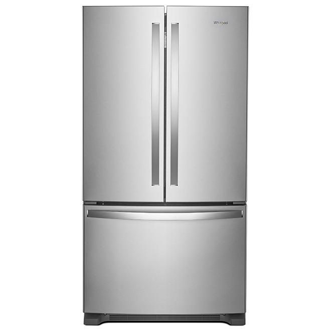 Réfrigérateur à portes françaises Whirlpool avec distributeur d'eau, 25 pi³, acier inoxydable, 36 po