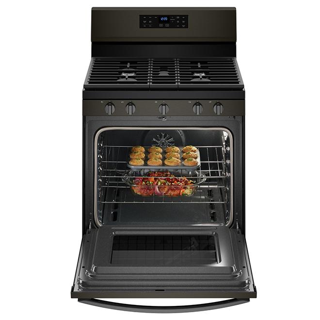Cuisinière au gaz avec ventilateur, 5 pi³, inox noir