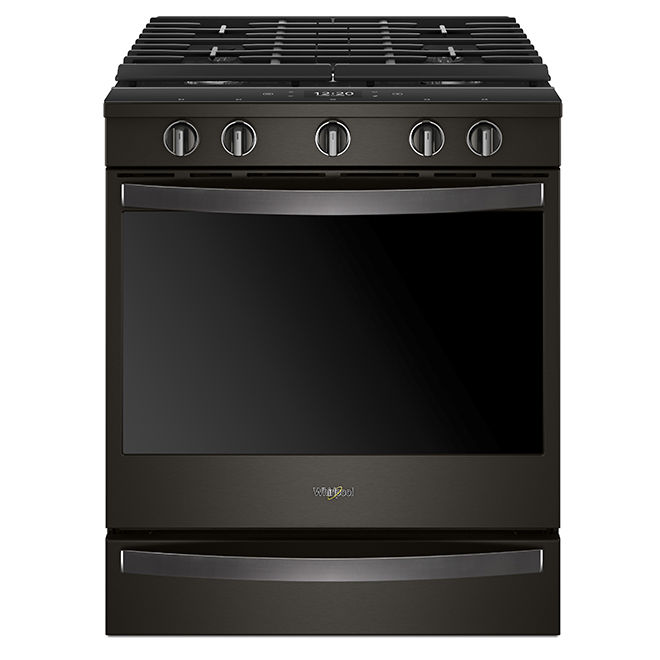 Slide-In Gas Smart Range - 5.8 cu. ft. - Black Stainless