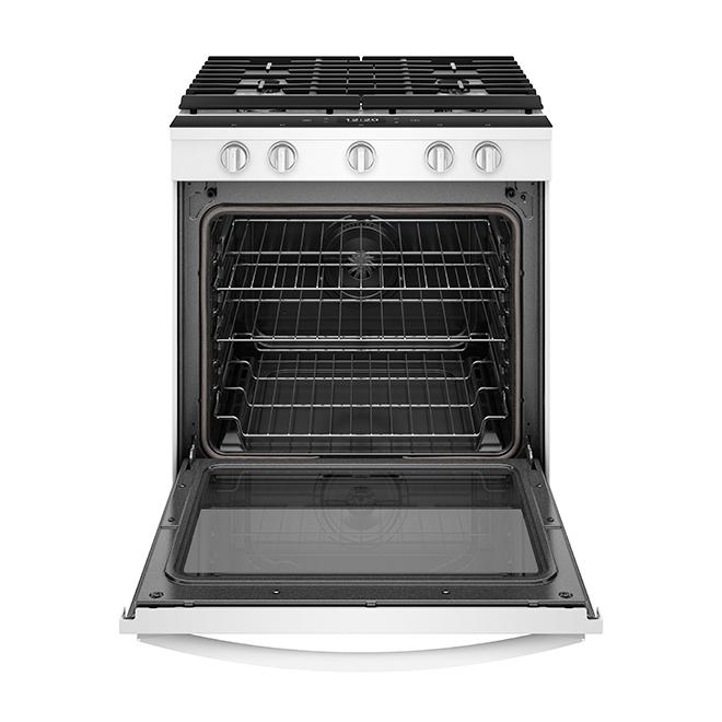 Cuisinière au gaz intelligente, encastrable, 5,8 pi³, blanc