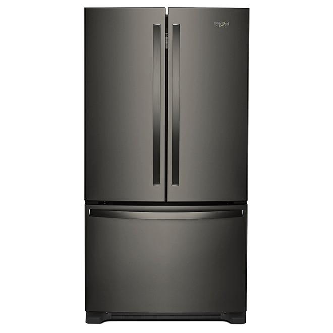 """Réfrigérateur à portes françaises, 33"""", 22 pi³, inox noir"""