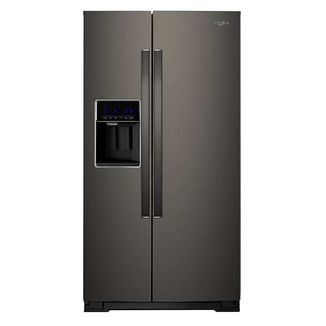 Refrigerator with Water/Ice Dispenser - 28 cu. ft. - Black Steel