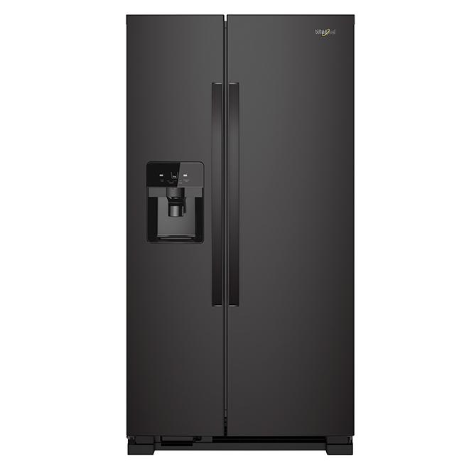 Réfrigérateur côte-à-côte, 25 pi³, noir