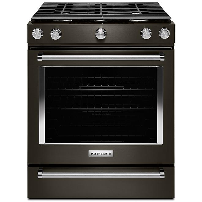 Cuisinière à gaz encastrée, 5,8 pi³, acier noir