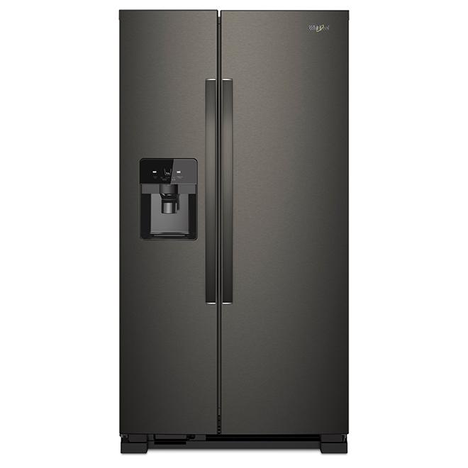 Refrigerator with Water/Ice Dispenser - 21 cu. ft. - Black Steel