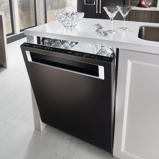 """Lave-vaisselle encastré avec fini anti-traces, 24"""", inox noir"""