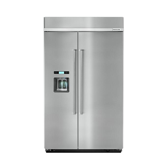 Réfrigérateur côte-à-côte KitchenAid encastré, 29,5 pi³, inox