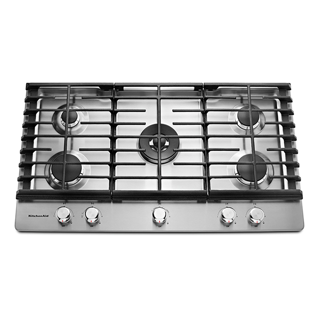 KitchenAid(R) 5-Burner Gas Cooktop - 36'' - 20,000 BTU - SS