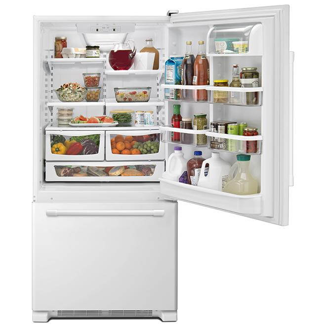 """Réfrigérateur à congélateur en bas, 30"""", 18,7 pi³, blanc"""