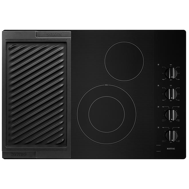 Surface de cuisson électrique Maytag avec grille et plaque chauffante, 30 po, noire