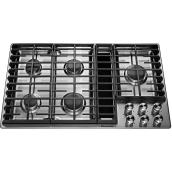 "KitchenAid(R) 5-Burner Gas Cooktop - 36"" - 17,000 BTU - SS"