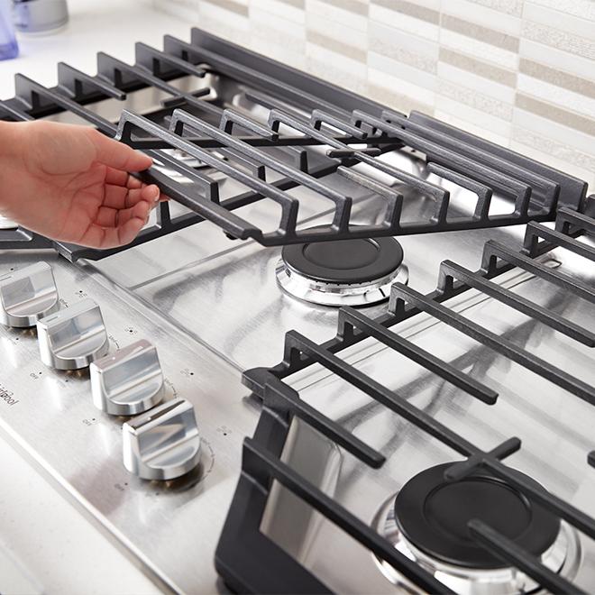 """Surface de cuisson au gaz à 5 brûleurs Whirlpool(MC), 36"""", inox"""