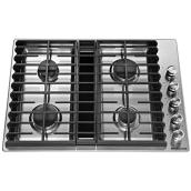 "KitchenAid(R) 4-Burner Gas Cooktop - 30"" - 17,000 BTU - SS"