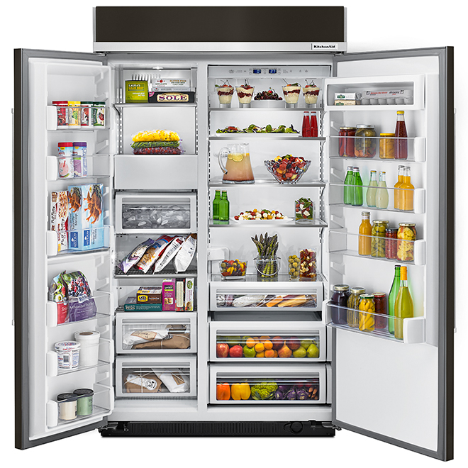 Réfrigérateur côte-à-côte, 30,02 pi³, acier inoxydable noir