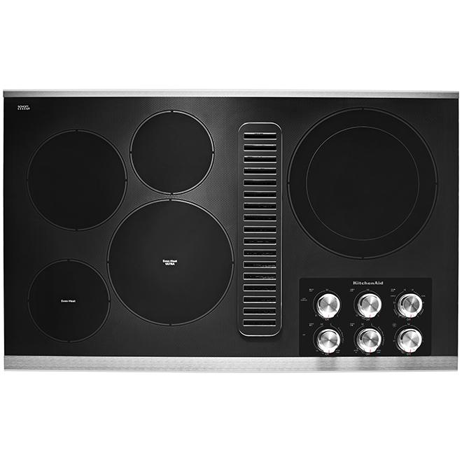 """Surface de cuisson avec ventilateur, 5 éléments, 36"""", noir"""