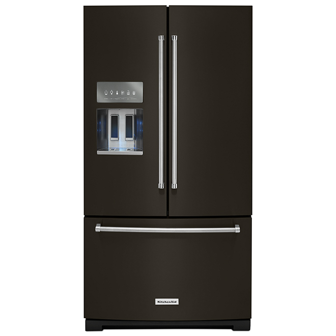 "French-Door Refrigerator - 36"" - 26.8 cu. ft. - Black SS"