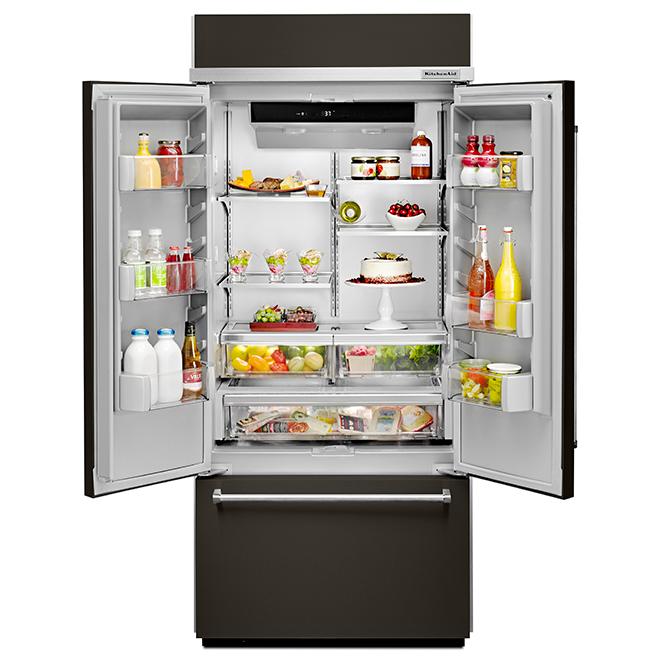 "French-Door Refrigerator - 36"" - 20.8 cu. ft. - Black SS"