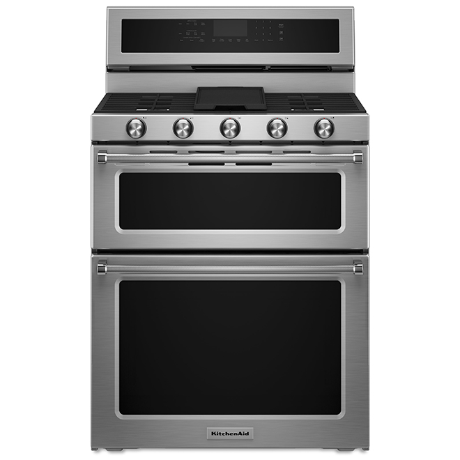 Kitchenaid Cuisinière double KitchenAid(MD) au gaz, 30, 6 pi³, inox KFGD500ESS