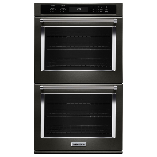 "KitchenAid(R) Double Wall Oven - 30"" - 10 cu. ft. - Black SS"