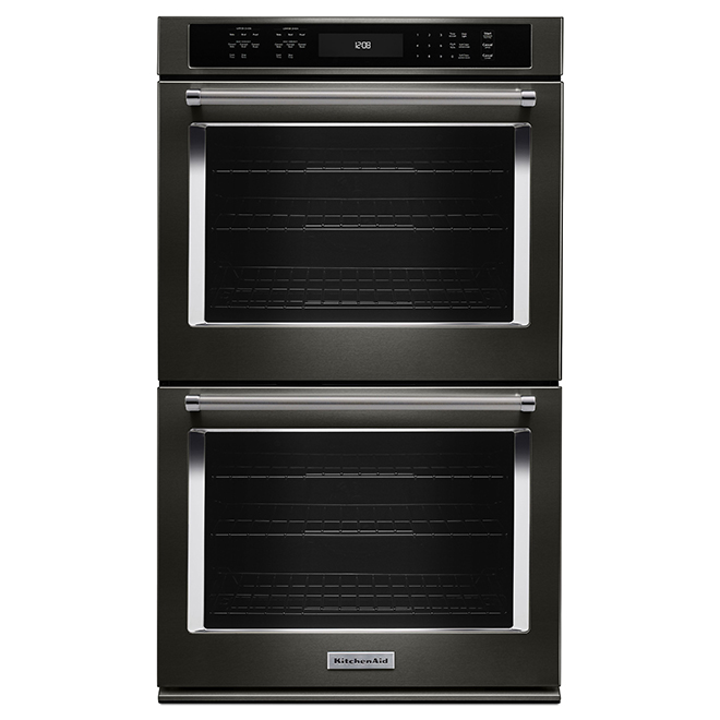 "KitchenAid(R) Double Wall Oven - 27"" - 8.6 cu. ft. - Black SS"