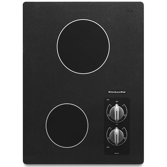 "KitchenAid(R) Electric Cooktop - 2 Burners - 15"" - Black"