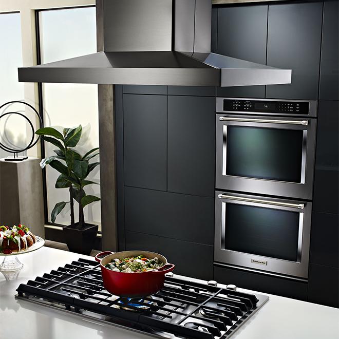 """Hotte de cuisine KitchenAid pour îlot, 36"""", 600 PCM, inox"""