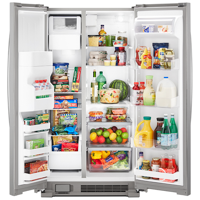 "Réfrigérateur côte-à-côte Whirlpool(MC), 25 pi³, 36"", inox"