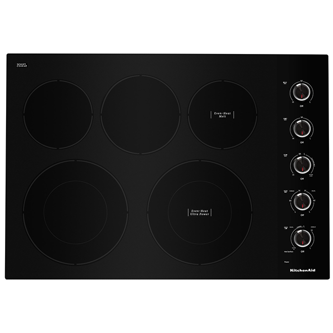 Kitchenaid Surface de cuisson KitchenAid 30 avec éléments Even-Heat, noir KCES550HBL