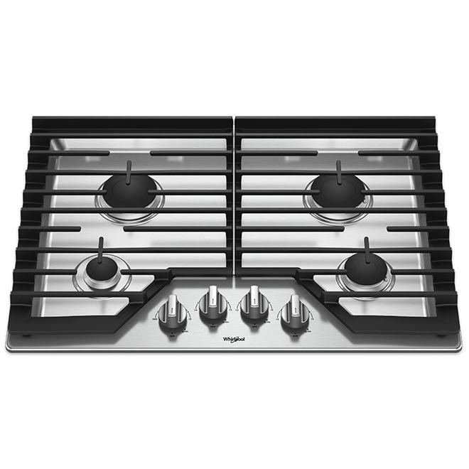 """Surface de cuisson au gaz à 4 brûleurs Whirlpool(MC), 30"""", inox"""