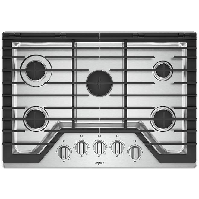 "Surface de cuisson au gaz Whirlpool(MC), 5 brûleurs, 30"", inox"