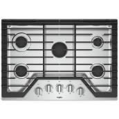"Whirlpool(TM) Gas Cooktop - 5 Burners - 30"" - Stainless Steel"