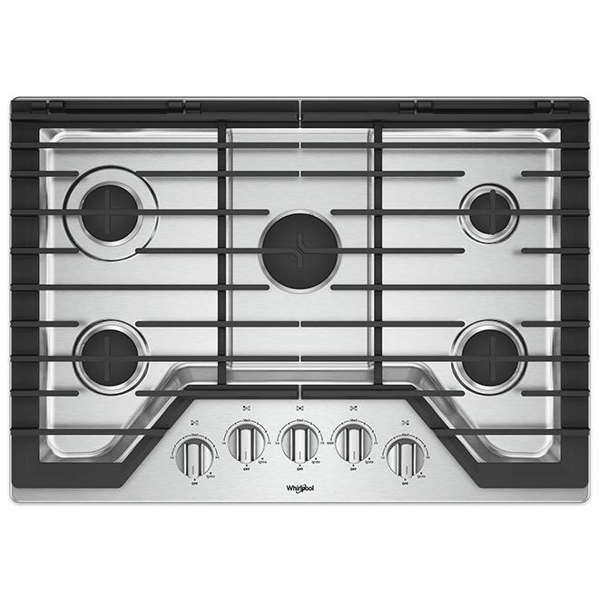 "Surface de cuisson au gaz Whirlpool(MC), 5 brûleurs, 36"", inox"