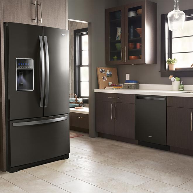 "36"" Whirlpool French-Door Refrigerator - 27 cu. ft. - Black SS"
